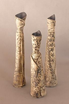three slab vases