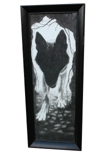 Wolf Den: (not for sale) 2016 15″ x 36″ charcoal