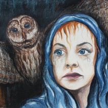 Night Owl: 2018 28″ x 22″ watercolour, charcoal & soft pastels, framed AVAILABLE