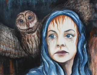 Night Owl: 2018 28″ x 22″ watercolour, charcoal & soft pastels