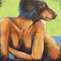 Bearheaded Dame: 2019 20″ x 20″ acrylic on canvas