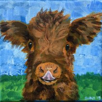 Highland Calf: 2019 5″ x 5″ acrylic on stretched canvas