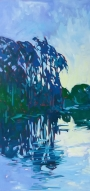 Evening Reflections -$1,600, oil on canvas, 20x40