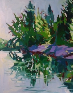Rocky Point, Chubb Lake - $800, oil on canvas, 16x20,