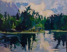 Morning Lake - $3,200, oil on canvas, 32x40,