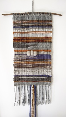 "Autumn - $225 - Handwoven fibre art wall hanging. It measures 56"" long (including fringe) and 15"" wide. The branch is 23"" wide."