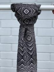 Overshot Lace Scarf - $120, Black Wool and Silk, Width-23cm, Length-209 cm, Fringe length-8cm