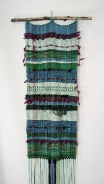 "Kaleidoscope - $395 - Handwoven fibre art wall hanging. It measures 78"" long (including fringe) and 15"" wide. The branch is 23"" wide."