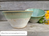 Set of deep bowls - $40/set, glazed in a two-tone soft white and pale turquoise.