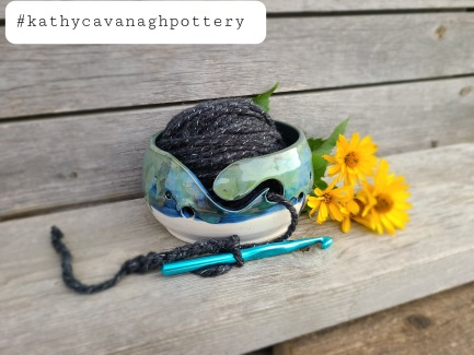 "Yarn Bowl- $40, 7"" dia. in white/blue/green combo."