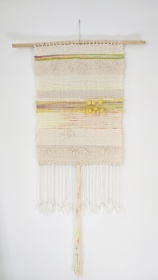 "Mellow Yellow - $165 - Handwoven fibre art wall hanging. It measures 41"" long (including fringe) and 15"" wide. The branch is 22 1/2"" wide."