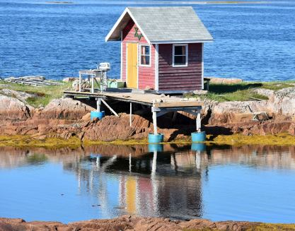 Newfoundland Shed & Reflection - $125 12 x 12 Framed with Non-reflective Glass