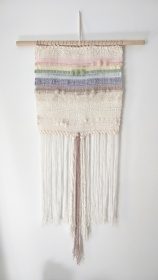 "Petit Arc-en-Ciel - $165 - Handwoven fibre art wall hanging. It measures 40"" long and 15"" wide. The wood dowel is 22"" long."