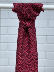 Overshot Lace Scarf - $120, Red Wool and Silk, Width-23cm, Length-190 cm, Fringe length-8cm