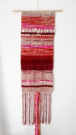 "Sunset - $295 - Handwoven fibre art wall hanging. It measures 68"" long (including the longest point of fringe) and 15"" wide. The wood dowel is 22"" wide."