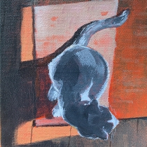 "Cat & Sunlight: 2020 4""x5″ acrylic on gallery wrap canvas AVAILABLE"