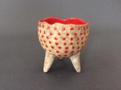 Tripod bowl, red dots - $95