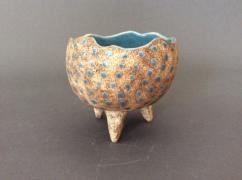 Tripod bowl, turquoise dots - $95