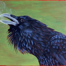 The Raven Himself: 2020 16″ x 20″ acrylic on stretched canvas AVAILABLE