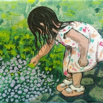 "Tickling The Garden: 4""x5″ acrylic on stretched canvas NFS"